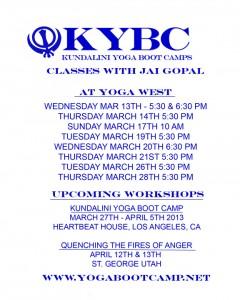Jai Gopal Khalsa Kundalini Class Schedule March 2013